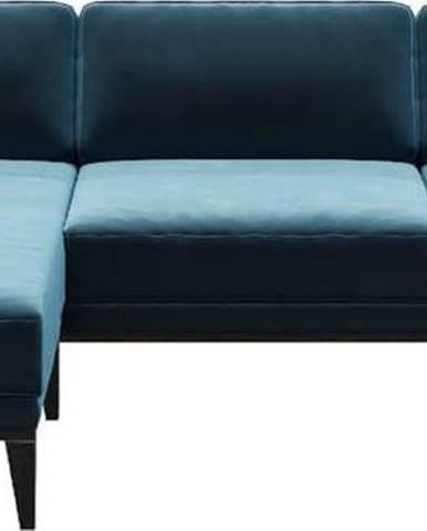 Modrá sametová rohová pohovka MESONICA Musso, levý roh