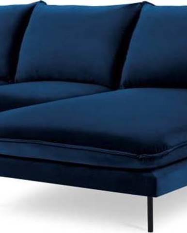 Modrá sametová rohová pohovka Cosmopolitan Design Vienna, pravý roh