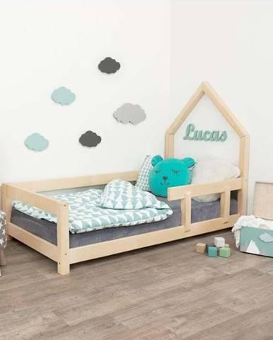 Přírodní dětská postel domeček s pravou bočnicí Benlemi Poppi, 80 x 180 cm