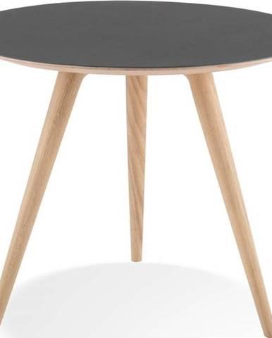 Odkládací stolek z dubového dřeva s černou deskou Gazzda Arp, ⌀55cm