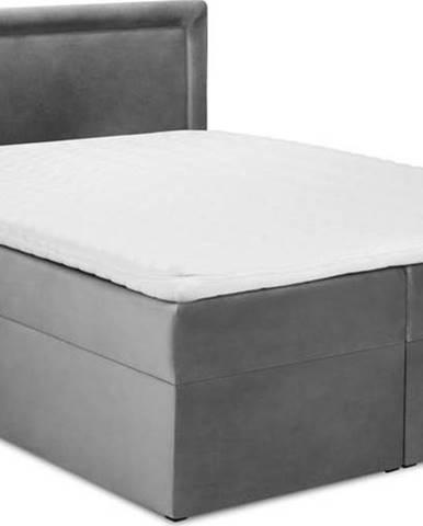 Šedá sametová dvoulůžková postel Mazzini Beds Yucca,180x200cm