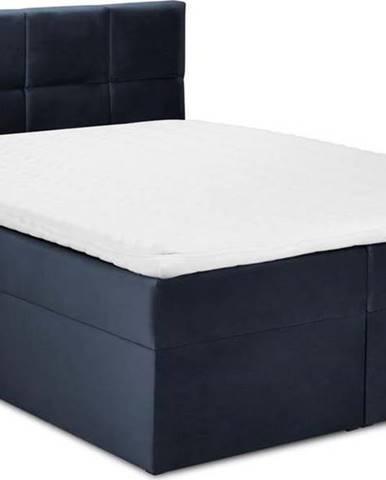 Tmavě modrá sametová dvoulůžková postel Mazzini Beds Mimicry,160x 200cm