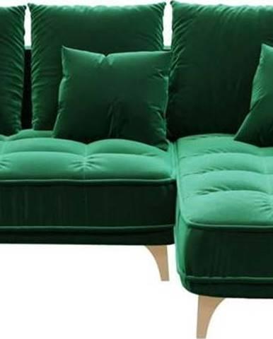 Tmavě zelená sametová rohová pohovka Devichy Chloe, pravý roh, 256 cm