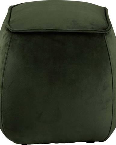 Tmavě zelený sametový puf Actona Mie, 40x40 cm