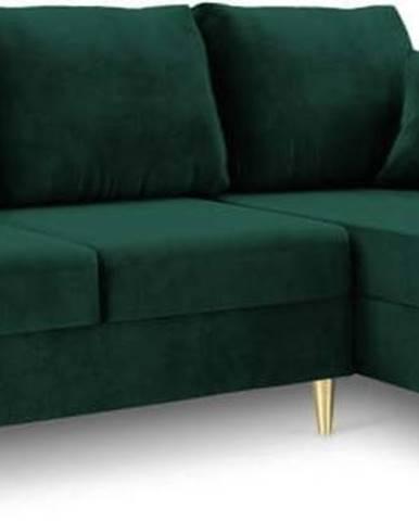 Zelená rozkládací pohovka s úložným prostorem Mazzini Sofas Muguet, pravý roh