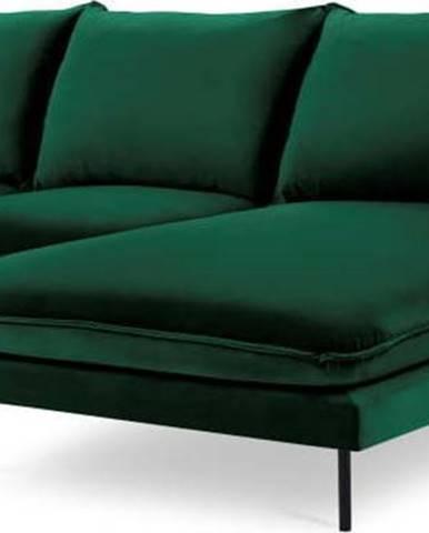 Zelená sametová rohová pohovka Cosmopolitan Design Vienna, pravý roh