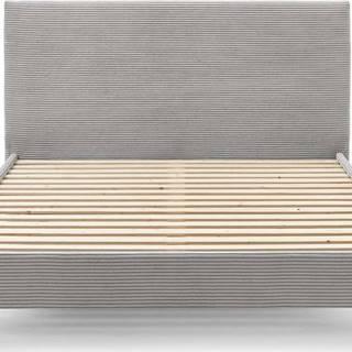 Šedá manšestrová dvoulůžková postel Bobochic Paris Anja Light, 180 x 200 cm