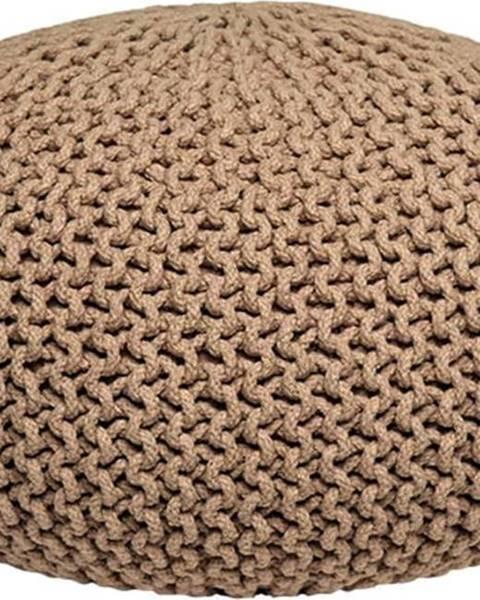 LABEL51 Béžový pletený puf LABEL51 Knitted XL, ⌀ 70 cm