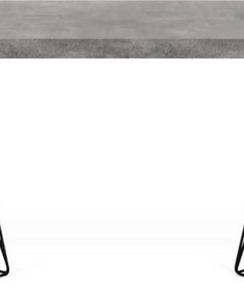 TemaHome Pracovní stůl v dekoru betonu s černým podnožím TemaHome Multi, 160 x 90 cm