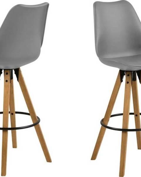 Actona Sada 2 šedých barových židlí Actona Dima