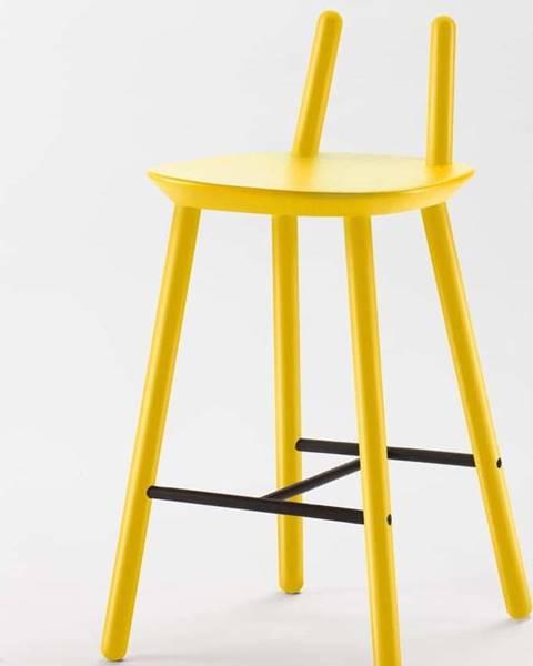 Emko Žlutá barová židle z masivu EMKO Naïve