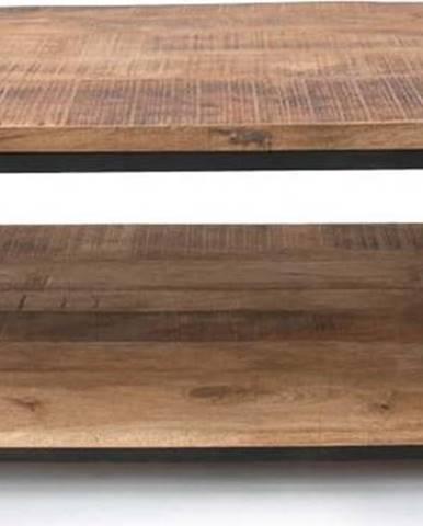 Černý konferenční stolek s deskou z mangového dřeva LEBEL51 Vintage XXL