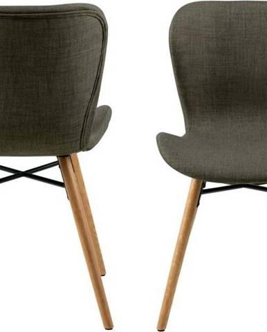 Sada 2 khaki zelených jídelních židlí Actona Batilda