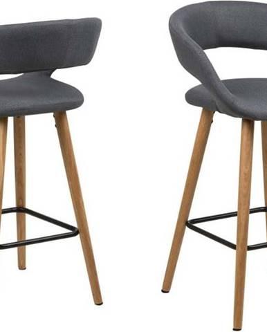 Sada 2 tmavě šedých barových židlí Actona Gill