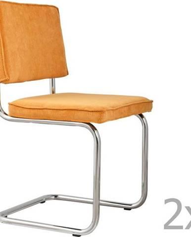 Sada 2 žlutých židlí Zuiver Ridge Rib