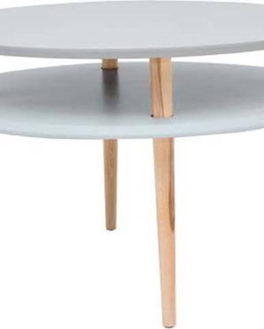 Světle šedý konferenční stolek s přírodními nohami Ragaba UFO, Ø70cm