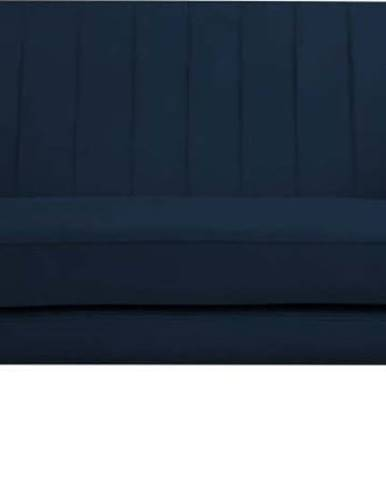 Tmavě modrá sametová pohovka Mazzini Sofas Benito, 158 cm