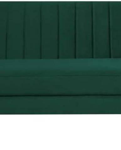 Tmavě zelená sametová pohovka Mazzini Sofas Benito, 188 cm