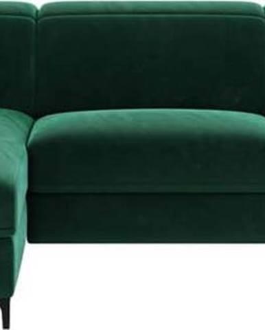 Tmavě zelená sametová polohovací rohová pohovka Mesonica Brito, levý roh