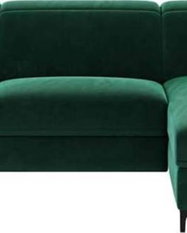 Tmavě zelená sametová polohovací rohová pohovka Mesonica Brito, pravý roh