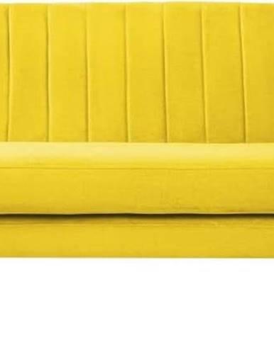 Žlutá sametová pohovka Mazzini Sofas Sardaigne, 188 cm