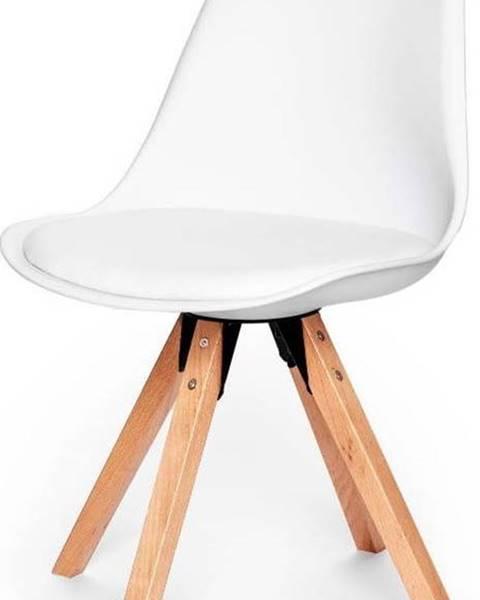 loomi.design Sada 2 bílých židlí s podnožím z bukového dřeva loomi.design Eco