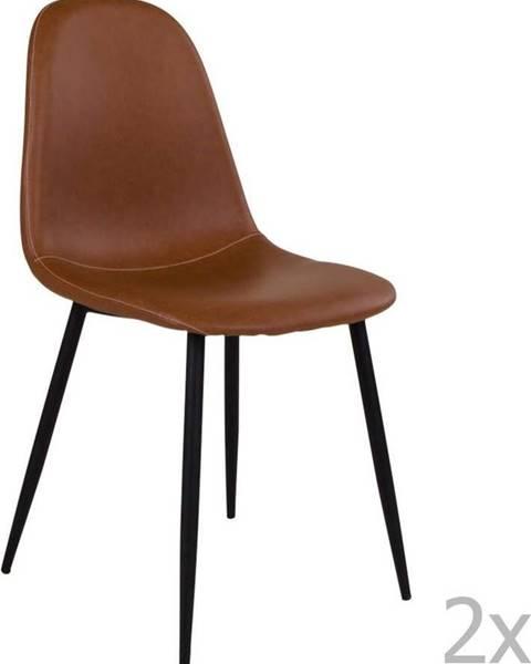 House Nordic Sada 2 hnědých židlí s černými nohami House Nordic Stockholm