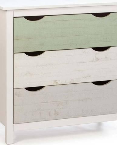 Bílá dětská komoda se 3 zásuvkami z borovicového dřeva Marckeric Perle