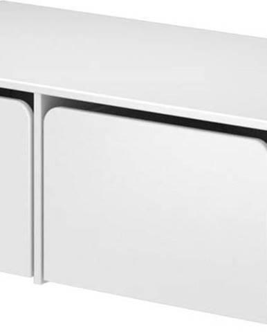 Bílá dětská úložná lavice Flexa Cabby, šířka 101 cm