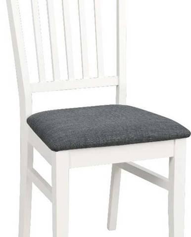 Bílá jídelní židle ze dřeva kaučukovníku s šedým podsedákem Rowico Wittaskar