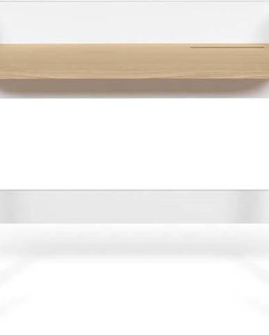 Bílý pracovní stůl s deskou v dekoru dubu TemaHome