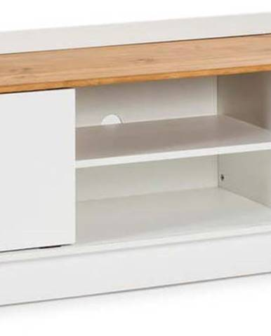 Bílý TV stolek s deskou v dekoru borovicového dřeva Marckeric Monte