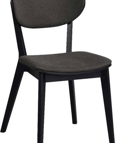 Černá dubová jídelní židle s tmavě šedým sedákem Rowico Cato