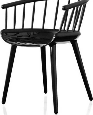 Černá jídelní židle s opěrkou z jasanového dřeva Magis Cyborg