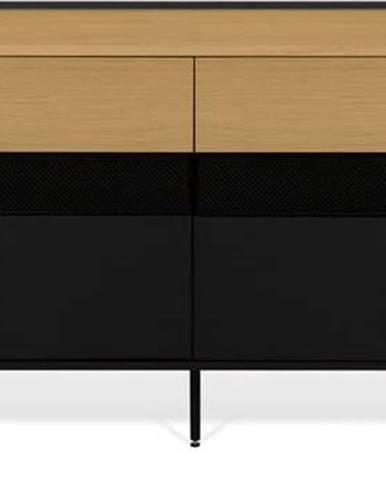 Černá komoda s prvky v dekoru dubového dřeva TemaHome Radio