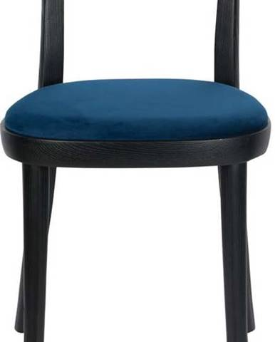 Sada 2 černých jídelních židlí s modrým podsedákem Dutchbone Brandon