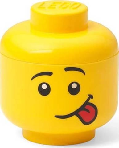 Žlutá úložná krabice ve tvaru hlavy LEGO® silly, 10,5x10,6x12 cm