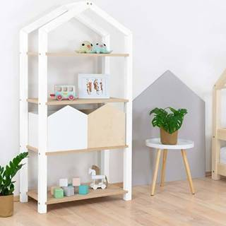 Bílá knihovna ze smrkového dřeva Tally,77,2x39x152,2cm