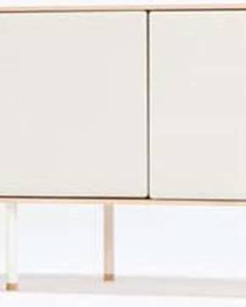 Gazzda Bílý TV stolek z dubového dřeva Gazzda Fina, šířka 180 cm