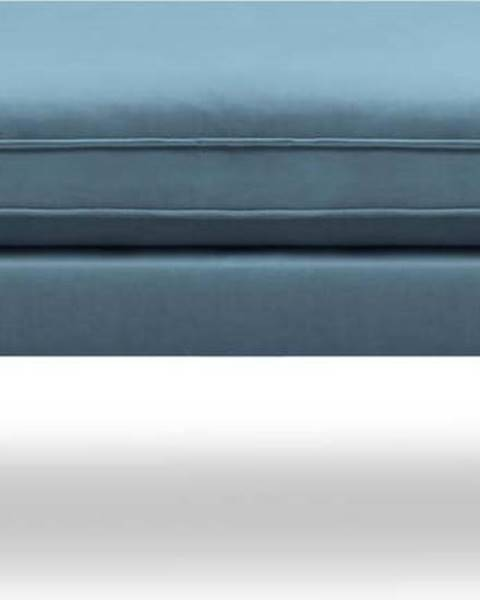 Kooko Home Světle modrá sametová podnožka s černými nohami Kooko Home Lento