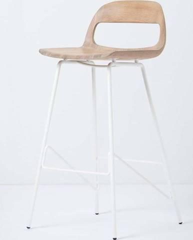 Barová židle se sedákem z masivního dubového dřeva a bílými nohami Gazzda Leina, výška93cm