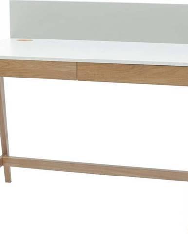 Bílý psací stůl s podnožím z jasanového dřeva Ragaba Luka,délka110cm