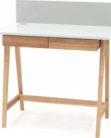 Bílý psací stůl s podnožím z jasanového dřeva Ragaba Luka,délka85cm