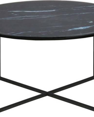 Černý konferenční stolek s deskou vmramorovém dekoru Actona Alisma, ⌀ 80 cm