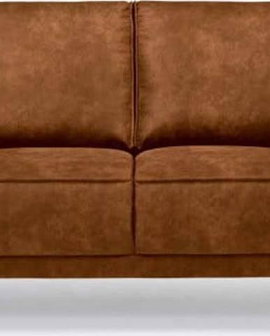 Koňakově hnědá pohovka z imitace kůže Scandic Copenhagen, 164 cm