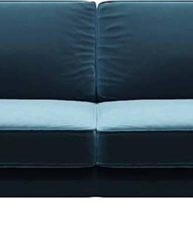 Modrá sametová pohovka MESONICA Kobo, 207 cm