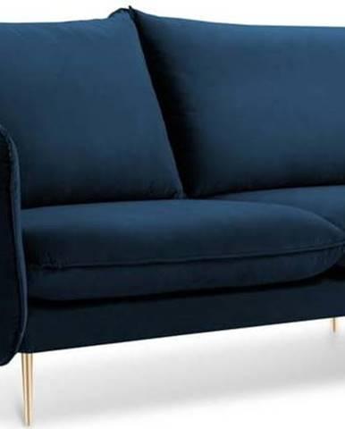 Modrá sametová pohovka Cosmopolitan Design Florence, 160 cm