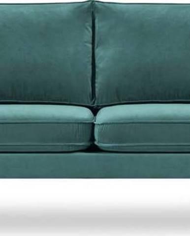 Petrolejově modrá sametová pohovka s černými nohami Kooko Home Lento, 198 cm
