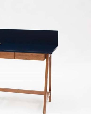 Petrolejově modrý psací stůl s podnožím z jasanového dřeva Ragaba Luka Oak,délka 85cm