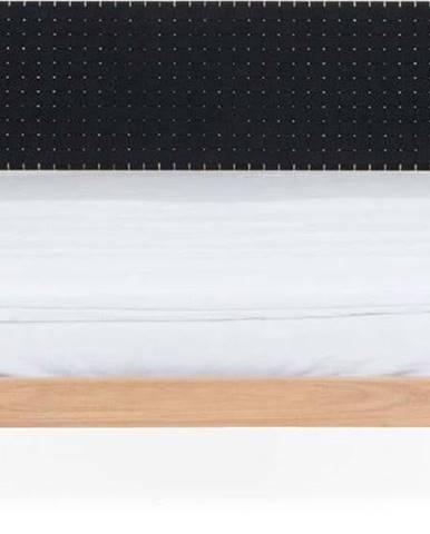 Postel z masivního dubového dřeva s černým čelem Gazzda Fawn, 140x200cm